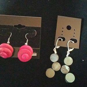 Set of 2 Earrings Pink & Aqua Marble Green